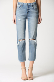 Hidden Jeans Zoey Distressed Mom Jeans - Front cropped