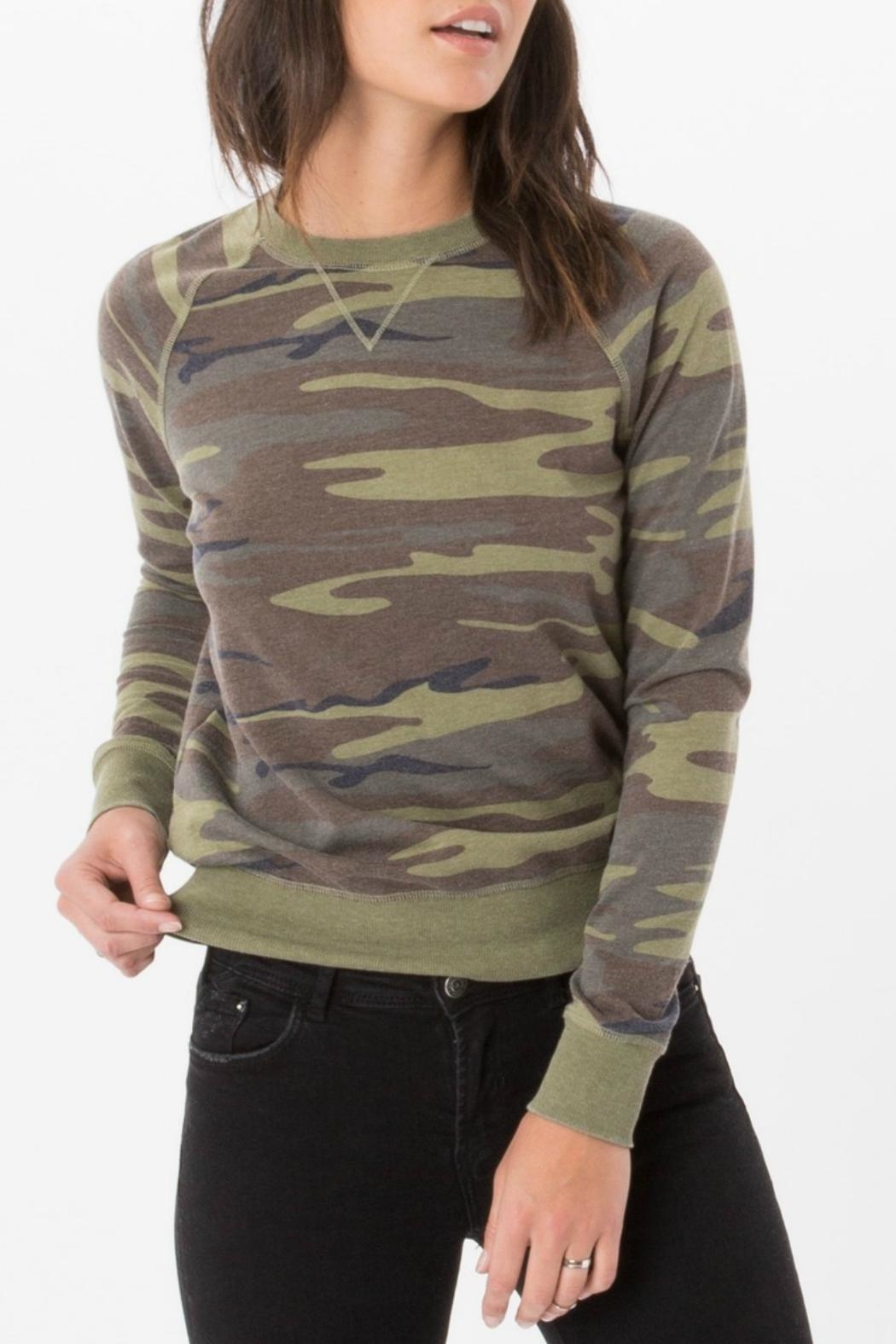 z supply Camo Crew Pullover Top - Front Cropped Image