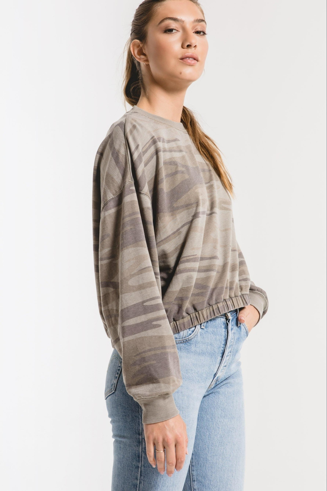 Zsupply Camo Relaxed Pullover - Back Cropped Image