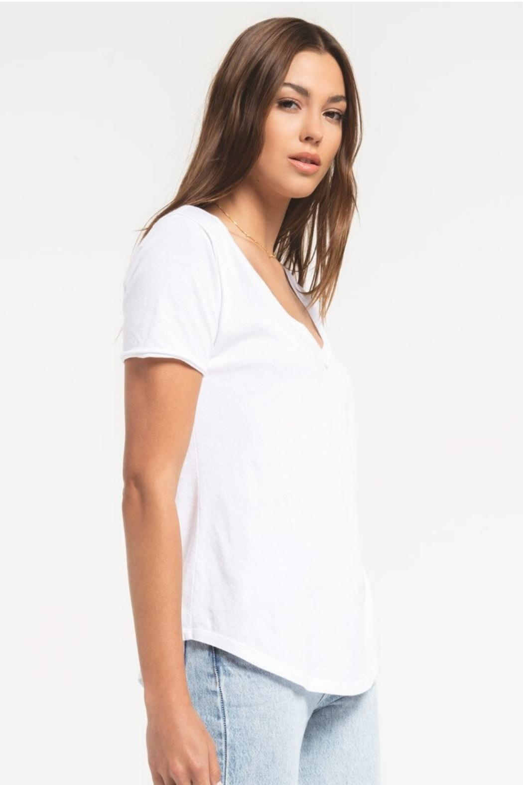 Zsupply Cotton V-Neck Tee - Back Cropped Image