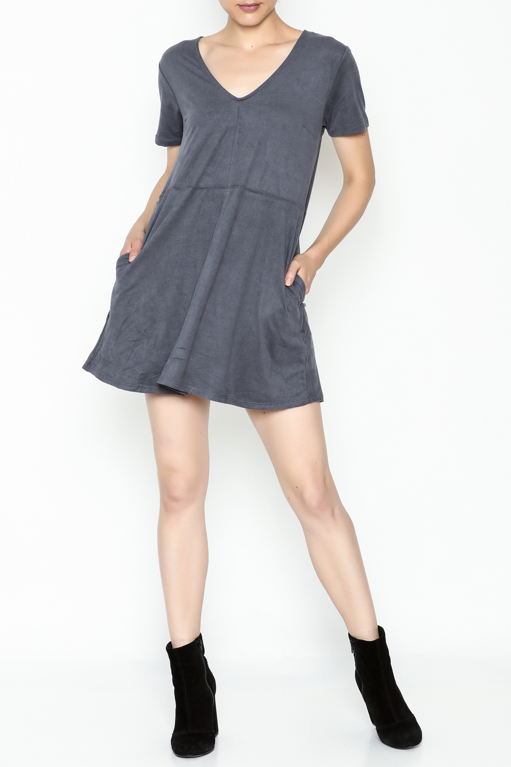 Zsupply Faux Suede Shift Dress - Side Cropped Image