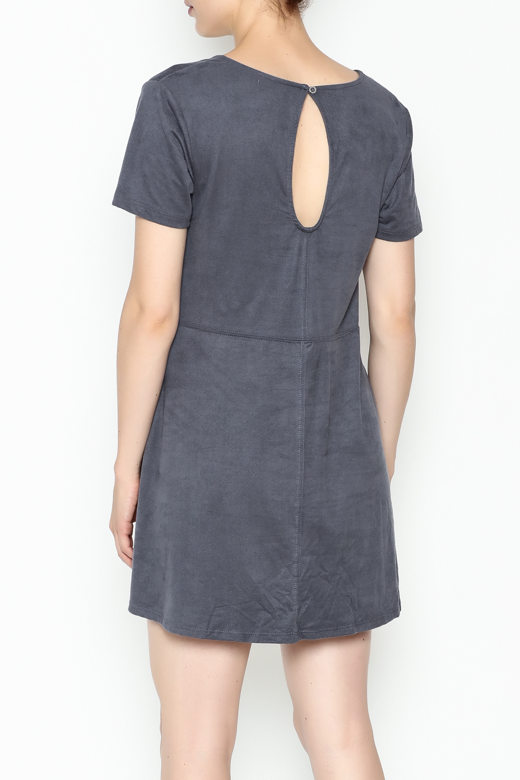 Zsupply Faux Suede Shift Dress - Back Cropped Image