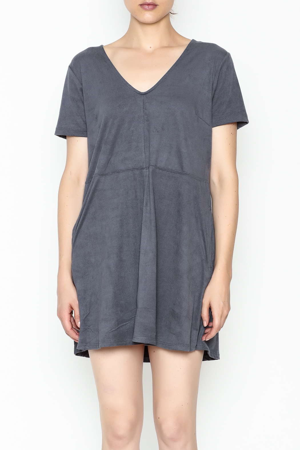 Zsupply Faux Suede Shift Dress - Front Full Image