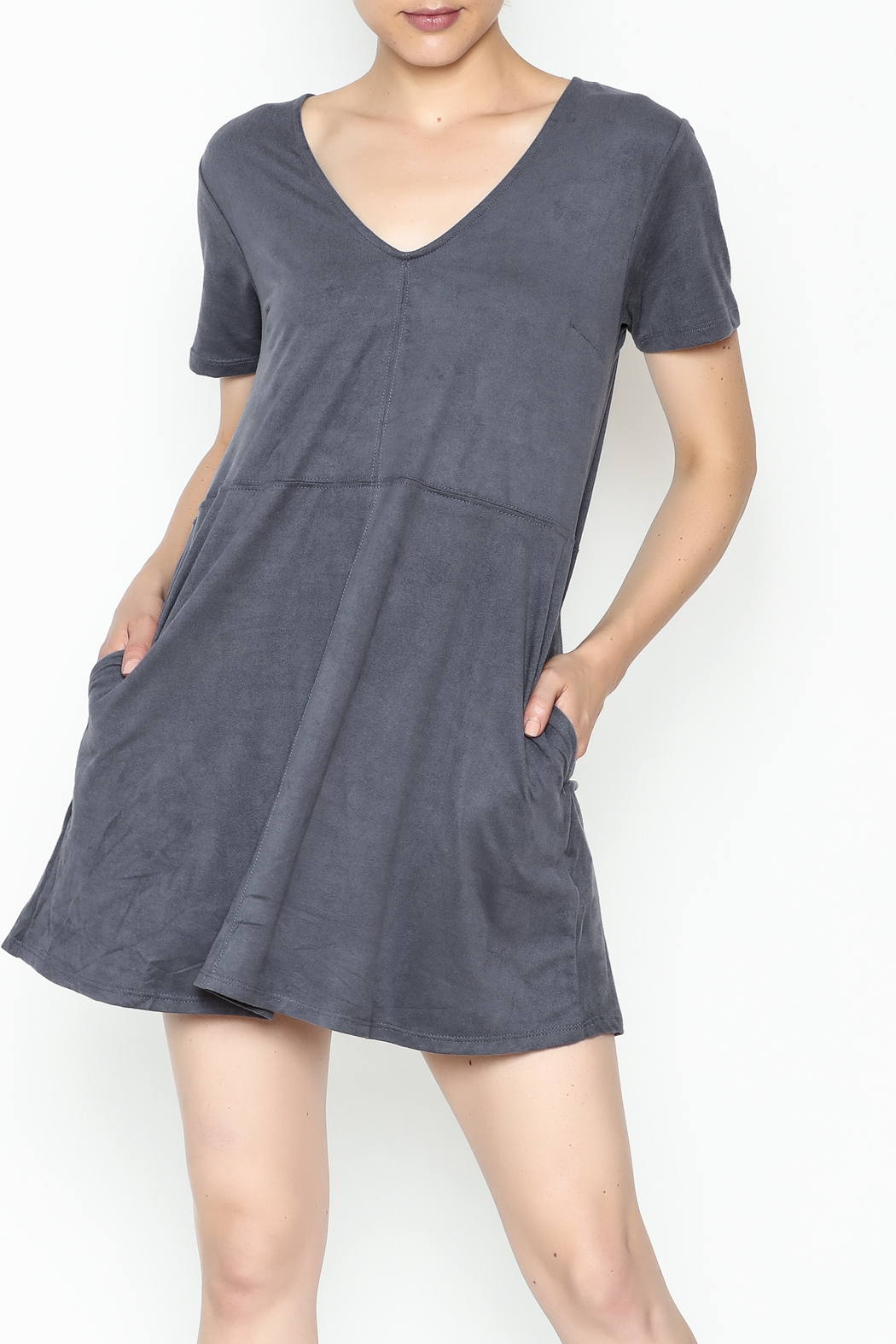 Zsupply Faux Suede Shift Dress - Front Cropped Image