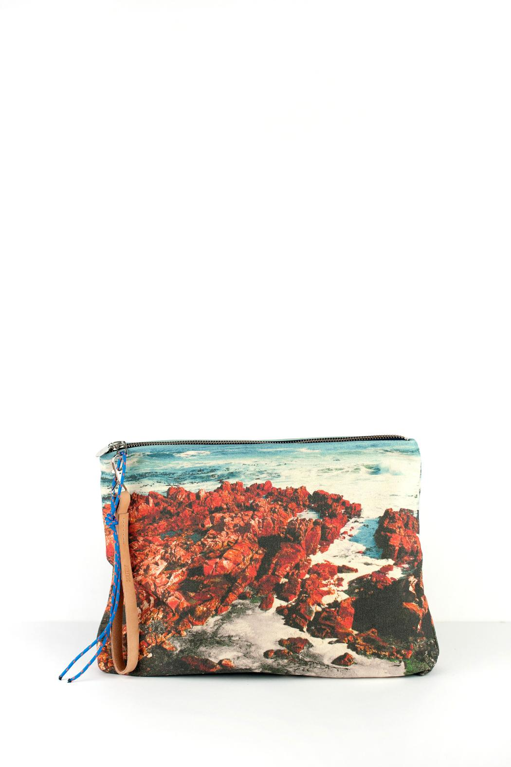 zubi Printed Canvas Clutch - Main Image
