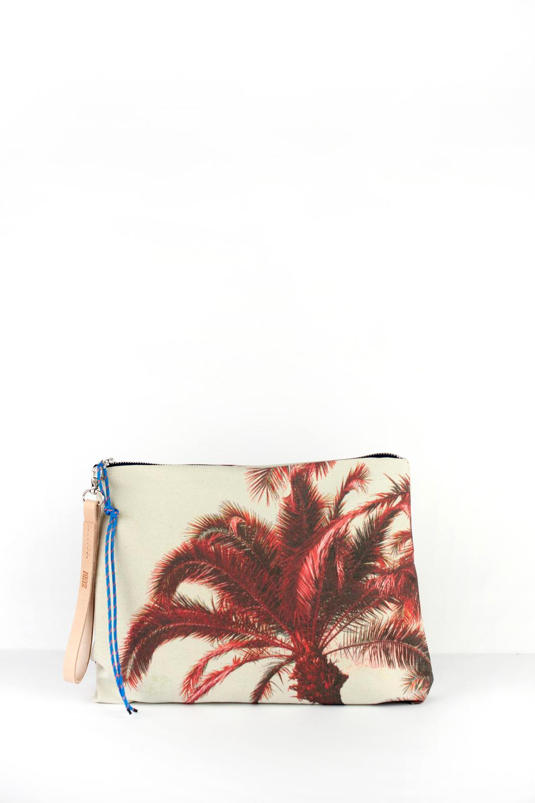 zubi Printed Canvas Clutch - Front Cropped Image