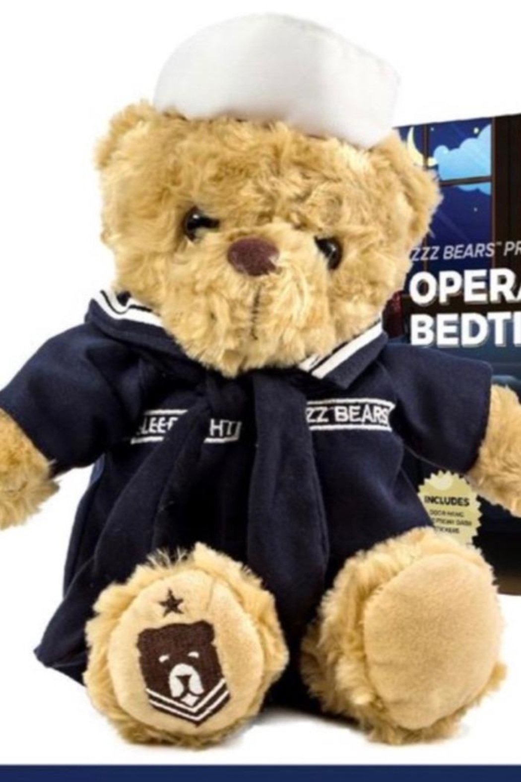 ZZZ Bears Sailor Sleeptight Navy Teddy Bear With Sleep System + Storybook - Main Image